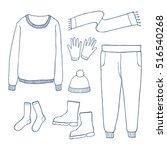 winter clothes set outline hand ...   Shutterstock .eps vector #516540268