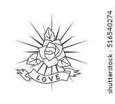 retro line art logo design ... | Shutterstock .eps vector #516540274