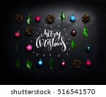merry christmas and happy new... | Shutterstock . vector #516541570