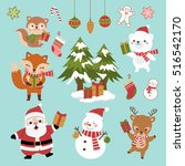 christmas set of cute cartoon... | Shutterstock .eps vector #516542170
