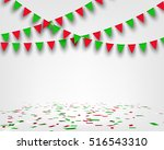 bunting flag and confetti on