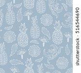 pineapple seamless pattern.... | Shutterstock .eps vector #516544690