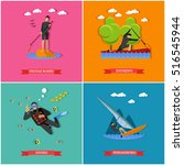 vector set of water sports.... | Shutterstock .eps vector #516545944