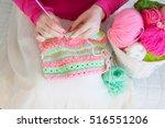 the woman crochet a hook from a ... | Shutterstock . vector #516551206