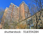 old brick five story apartment... | Shutterstock . vector #516554284