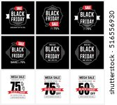 black friday sale label set | Shutterstock .eps vector #516556930