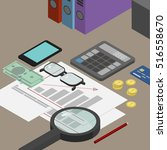 auditor desktop  accounting... | Shutterstock .eps vector #516558670