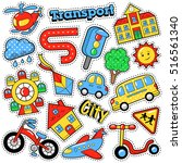kids fashion badges  patches ... | Shutterstock .eps vector #516561340