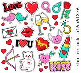 fashion love badges set with... | Shutterstock .eps vector #516561376