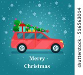 retro car with christmas tree... | Shutterstock .eps vector #516563014
