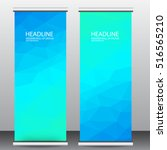 abstract blue roll up banner...   Shutterstock .eps vector #516565210