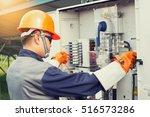 solar power engineering working ... | Shutterstock . vector #516573286