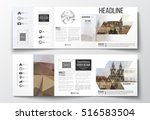 set of tri fold brochures ... | Shutterstock .eps vector #516583504