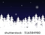 landscape with fir trees ... | Shutterstock .eps vector #516584980