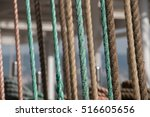 deck and ropes  rigging on a... | Shutterstock . vector #516605656
