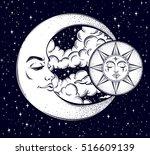 vintage hand drawn moon  sun... | Shutterstock .eps vector #516609139