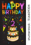 colorful birthday greeting card ... | Shutterstock .eps vector #516609304