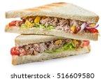 fresh made tuna sandwich ... | Shutterstock . vector #516609580