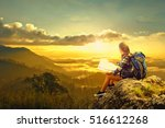 young woman sitting on hill ... | Shutterstock . vector #516612268