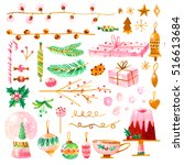 set of christmas decorations.... | Shutterstock . vector #516613684