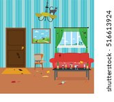 dirty room after party | Shutterstock .eps vector #516613924