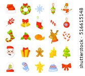 Christmas Icon Set Collection Vector. cartoon. New year traditional symbols. icons objects. Isolated. Vector clip art