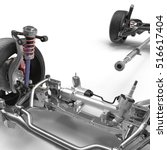car chassis on white. 3d... | Shutterstock . vector #516617404