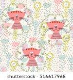 vector hand drawn seamless... | Shutterstock .eps vector #516617968