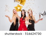 three cheerful pretty young... | Shutterstock . vector #516624730