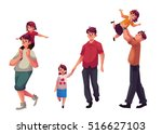 father and daughter  set of... | Shutterstock .eps vector #516627103
