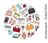 patch of fashion accessories.... | Shutterstock .eps vector #516627544