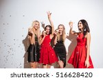 four happy beautiful young... | Shutterstock . vector #516628420