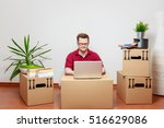 young man uses laptop in his... | Shutterstock . vector #516629086