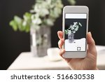 woman taking photo of green... | Shutterstock . vector #516630538