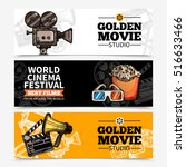 cinema horizontal banners with... | Shutterstock .eps vector #516633466