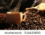 Roasted Coffee Beans With Cup...