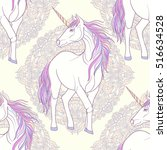 seamless pattern with unicorn... | Shutterstock .eps vector #516634528