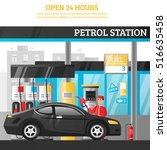 petrol station flat composition ... | Shutterstock .eps vector #516635458