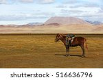 horse and mountains in western... | Shutterstock . vector #516636796