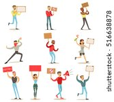 people marching in protest with ... | Shutterstock .eps vector #516638878