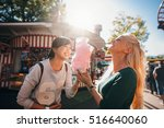 shot of happy female friends in ... | Shutterstock . vector #516640060