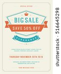 sale flyer or poster design... | Shutterstock .eps vector #516645298