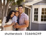 portrait of family standing... | Shutterstock . vector #516646249