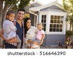 portrait of family standing... | Shutterstock . vector #516646390