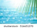 Green Nature Palm Leaf On Blur...