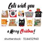 set of vector illustrated... | Shutterstock .eps vector #516652960