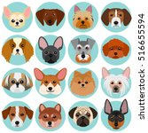 small dog faces set with circle | Shutterstock .eps vector #516655594