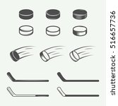 set of vintage hockey elements... | Shutterstock .eps vector #516657736
