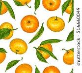seamless pattern with mandarins.... | Shutterstock .eps vector #516660049