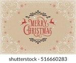 horizontal merry christmas card ... | Shutterstock .eps vector #516660283